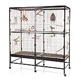 Montana Cages  | Vogelvoliere Paradiso 150 | Choco - Vanille | artgerechter Wellensittichkäfig | Voliere für Wellensittiche, Nymphensittiche & Co.