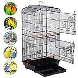 Yaheetech Vogelkäfig Vogelvoliere Nagerkäfig Vogelhaus mit Rollen 6 Sitzstangen, 8 Kunststoffnäpfe für Futter/Wasser