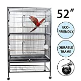 D4P Display4top Schwarzer großer Vogelkäfig aus Schmiedeeisen für Kakadu, Papagei, Kanarienvogel mit Holzstangen und Rädern, 131 x 52 x 79 cm