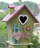 Dekorativer (N13) Nistkasten Herz-Grün Vogelhaus-Vogelhäuschen-sauberste Verarbeitung-Vogelhaus