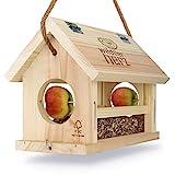 wildtier herz | Vogelfutterhaus M Handarbeit aus Natur-Holz für Gartenvögel wetterfest, naturbelassen | Vogelhaus zum Aufhängen im Garten und Balkon