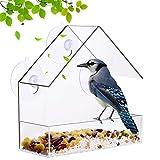 Fenster-Vogelfutterhaus für Wildvögel, Hängender Vogelhäuschen mit freiem Fenster und 3 Saugnäpfe Mit 21 Abflusslöchern