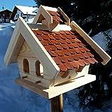 Naturholz-Schreinermeister Vogelhaus XL Vogelhäuser Vogelfutterhaus Vogelhäuschen aus Holz Wetterschutz Putzklappe (Braun)